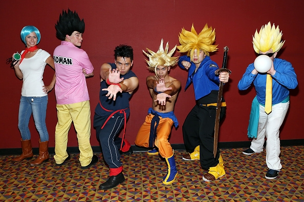 Fans Wear Costumes As Dragon Ball Z Characters At The Release Of Movie Resurrection F In New York On Aug 3 2015