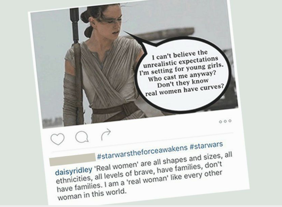 daisy ridley who played rey in star wars the force awakens responded in an internet meme that was making the rounds this week?w=750 daisy ridley deletes curt response to instagram meme claiming her