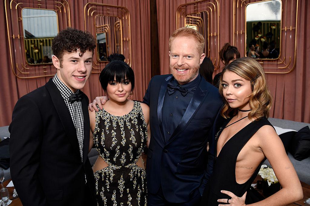 Actors (L,R) Nolan Gould, Ariel Winter, Jesse Tyler Ferguson, and Sarah  Hyland attend The 22nd Annual Critics\u0027 Choice Awards at Barker Hangar on  December 11